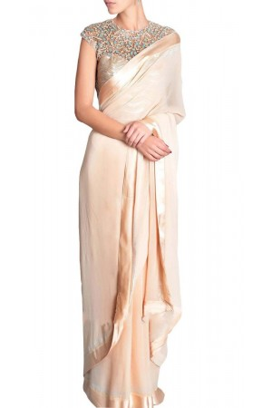 Inspired style cream color lycra silk party wear saree