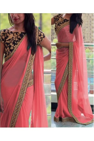 Inspired style Gajri and black color georgette party wear saree