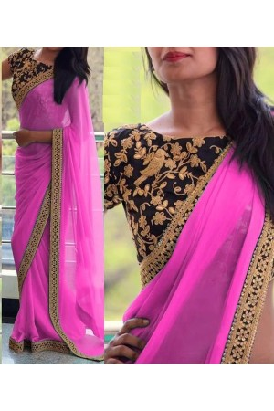 Inspired style Pink and black color georgette party wear saree