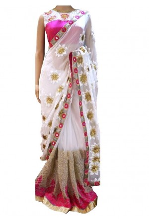 Inspired style white and pink color georgette party wear saree