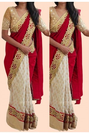 Inspired style white and red color silk georgette party wear saree