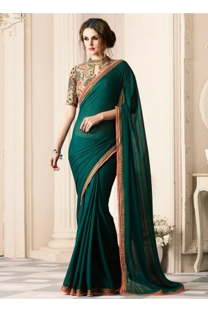 Green satin designer saree 40005