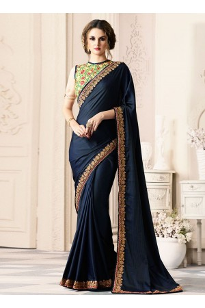 Navy blue satin blend party wear saree 40003