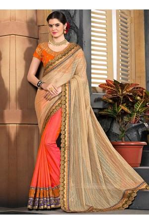 Orange and beige half and half saree 2006