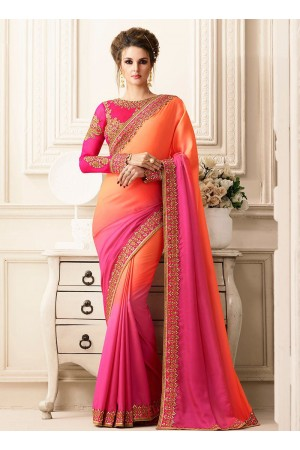 Pink and orange satin designer saree 40008