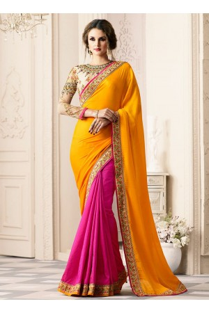 Pink and yellow half and half designer saree 40006