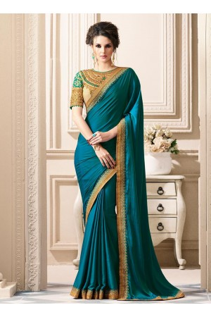 Teal art silk border designer saree 40007