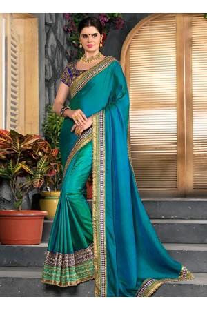 Teal blue shaded half and half saree 2009