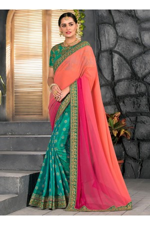 Tricolor half and half saree 2011
