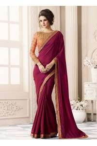 Wine color satin designer saree 40004