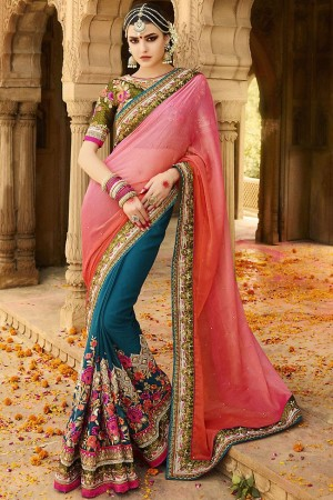 blue pink wedding sarees 6008