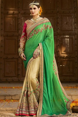 cream green wedding sarees 6010