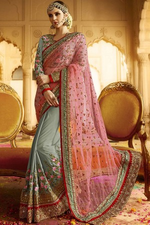 grey pink wedding sarees 6007