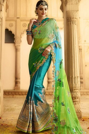 kollybollyethnics green blue shaded wedding saree 6004