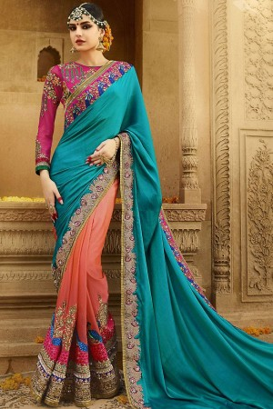 kollybollyethnics orange blue wedding sarees 6002