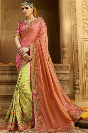 kollybollyethnics peach green silk wedding sarees 6001