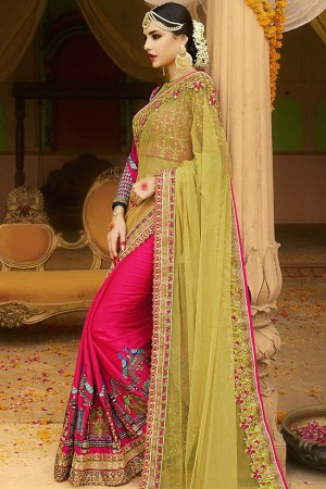 pink yellow wedding saree 6005