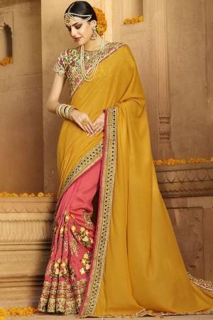 yellow pink wedding sarees 6011