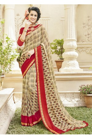 Beige Colored Printed Faux Georgette Officewear Saree 584