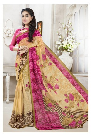 Beige Colored Printed Faux Georgette Saree 112