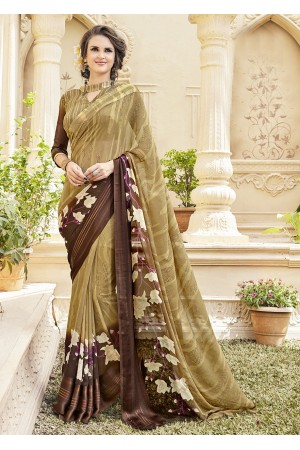 Beige Georgette Satin Traditional Printed Saree 589