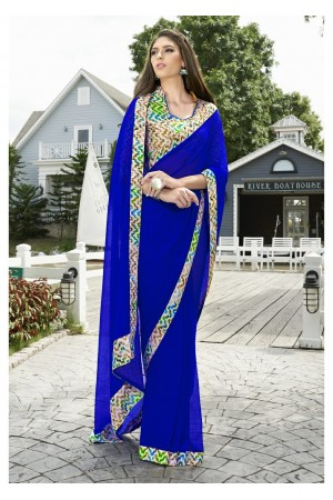 Blue Colored Border Worked Chiffon Saree 1003