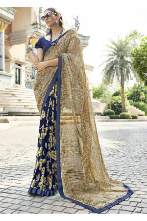 Blue Colored Printed Saree 1705