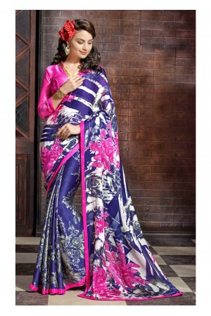 Blue Colored Printed Satin Chiffon Saree 1109