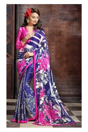Blue Colored Printed Satin Chiffon Saree 1109