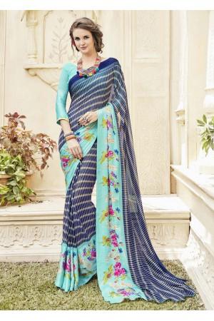 Blue Georgette Satin Stripes Printed Saree 594