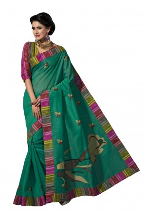 Green Colored Embroidered Blended Cotton Saree 183