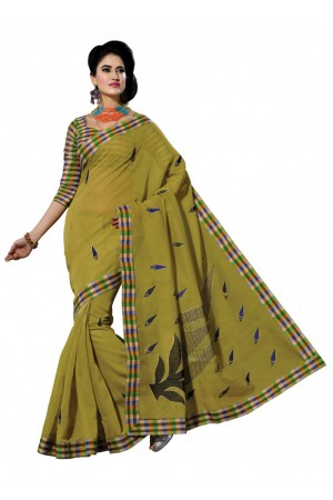 Green Colored Embroidered Blended Cotton Saree 187A