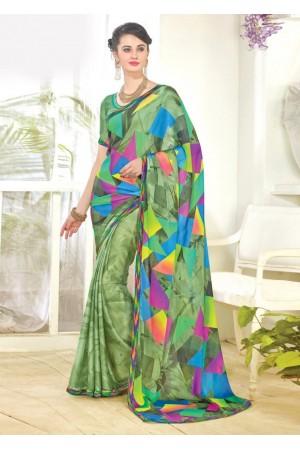 Green Faux Georgette Half n Half Printed Saree 1003