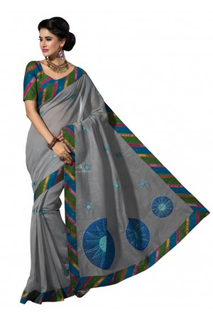 Grey Colored Embroidered Blended Cotton Saree 175