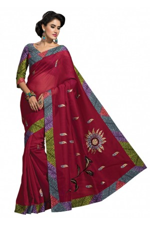 Magenta Colored Embroidered Blended Cotton Saree 186