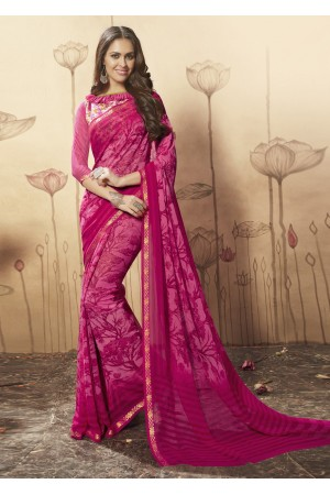 Magenta Colored Printed Faux Georgette Saree 1606