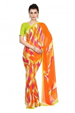 Multi Colored Printed Faux Georgette Saree 12776A