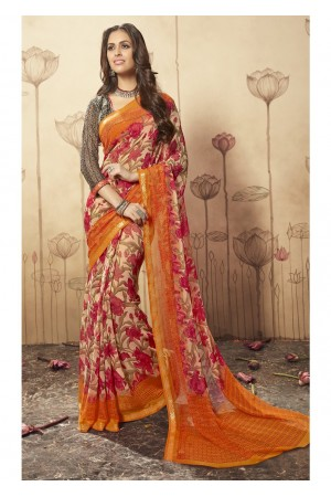 Multi Colored Printed Faux Georgette Saree 1612
