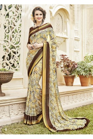 Multi Colored Printed Faux Georgette Saree 592