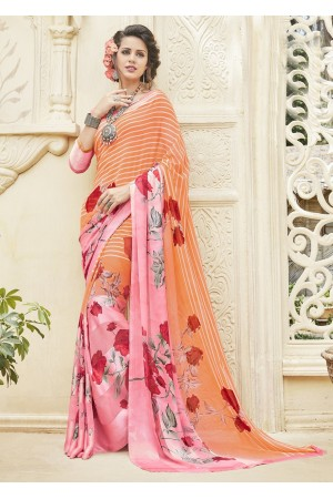 Multi Colored Printed Georgette Satin Saree 593