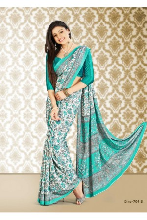 Off White Colored Printed Crape Silk Saree 704B