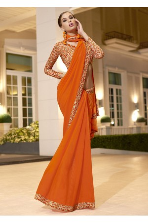 Orange Chiffon Border Worked Saree 1021