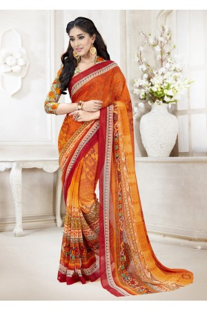 Orange Faux Georgette Traditional Printed Saree 108