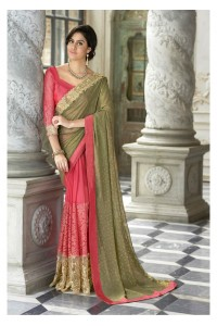 Pink Colored Border Worked Georgette Chiffon Partywear Saree 97054