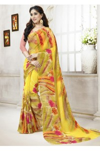 Yellow Colored Printed Faux Georgette Saree 106