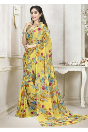 Yellow Colored Printed Faux Georgette Saree 111