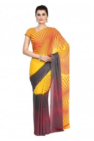 Yellow Colored Printed Faux Georgette Saree 12778B