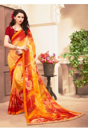 Yellow Colored Printed Faux Georgette Saree 61025