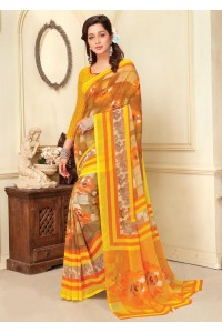 Yellow Colored Printed Faux Georgette Saree 89012