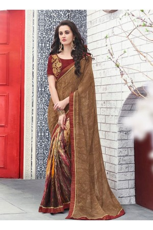 Brown color georgette casual wear saree